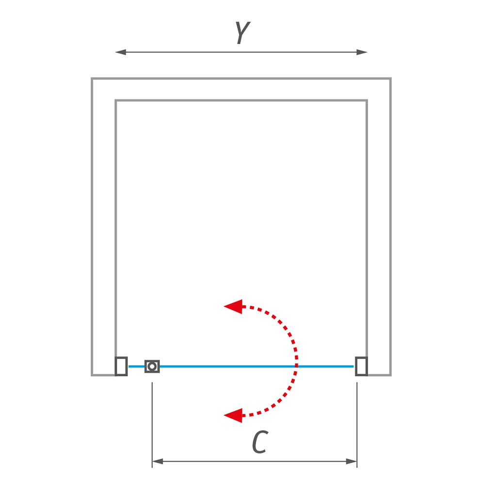 ECDO1N/1100, Instalační rozměr (y): 1075–1115, Profil: Brillant, Typ: ECDO1N/1100, Vstupní otvor (c): 725, Výplň: Transparent, Výška (h): 2050 mm, Způsob dodání: O, ECDO1N
