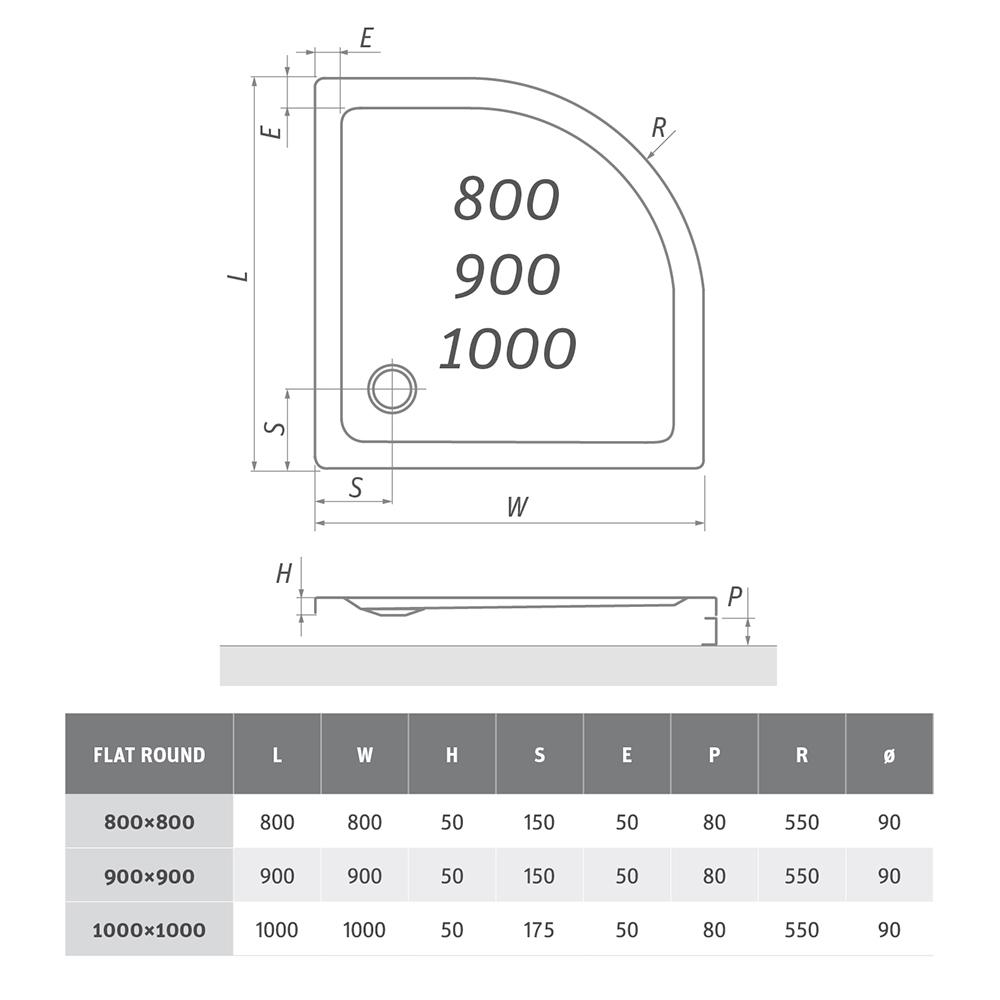 Panel čelní FLAT ROUND/800, Rádius: -, Rozměr: Panel 800, Typ: Panel čelní FLAT ROUND/800, Výška (h): -, Způsob dodání: S, FLAT ROUND