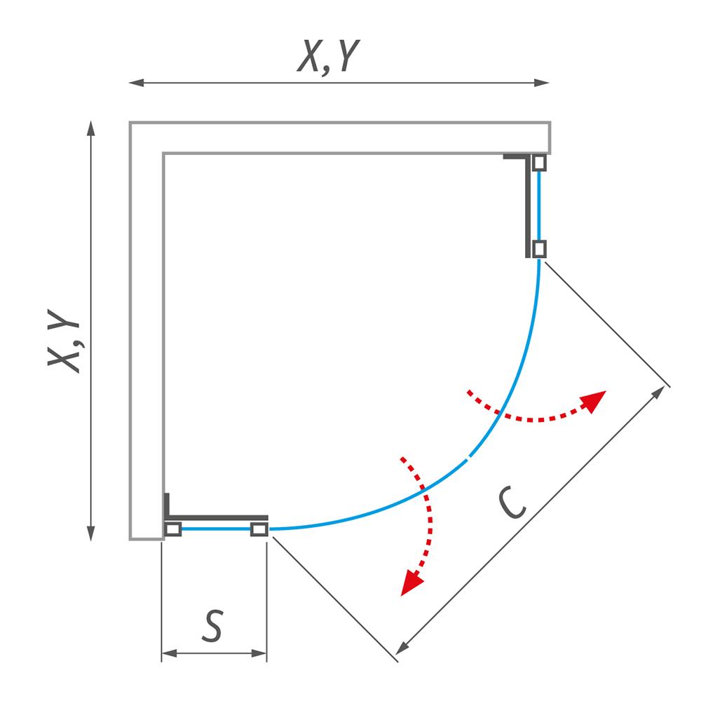GR2N/900, Profil: Brillant, Šířka bočku (s): 290, Typ: GR2N/900-1000, Vstupní otvor (c): 710-900, Výplň: Transparent, Výška (h): 2015 mm, Způsob dodání: S, GR2N