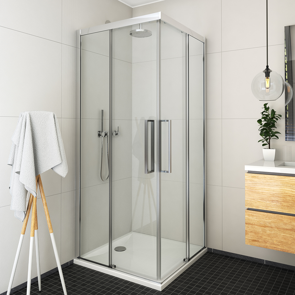 ECS2L/1200+ECS2P/900, Instalační rozměr (y): Viz technická specifikace, Profil: Brillant, Šířka druhých dveří: 900, Šířka dveří: 1200, Typ: ECS2L/1200+ECS2P/900, Výplň: Transparent, ECS2L+ECS2P